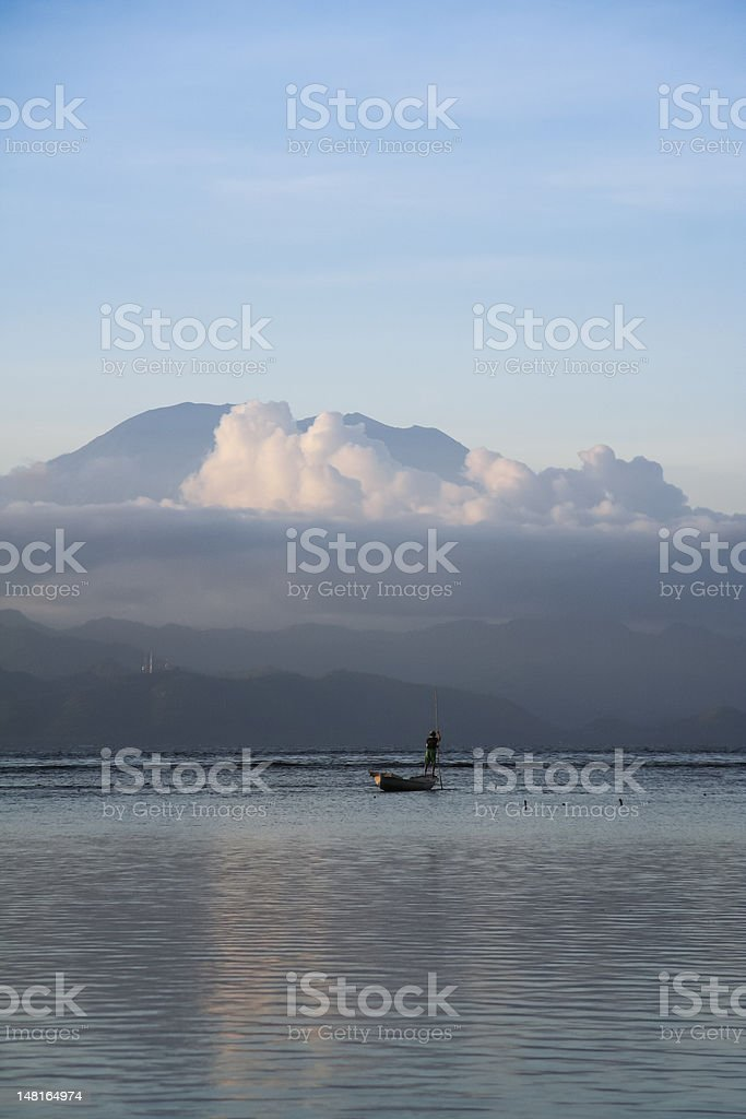 seaweed farmer nusa lembongan bali volcano royalty-free stock photo