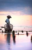 Seaweed farmer walking with basket through the water at dusk
