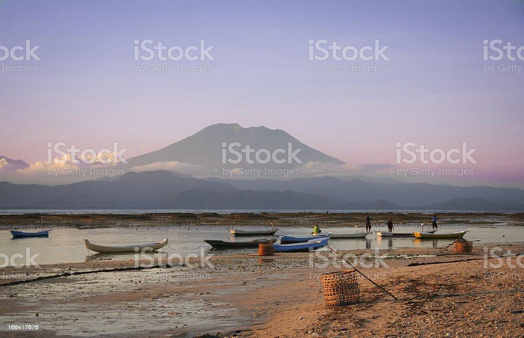 Seaweed farmers nusa lembongan bali indonesia stock photo