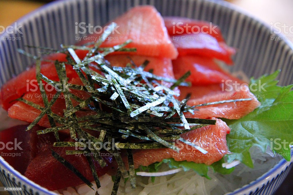 Seaweed Flakes on Tuna stock photo