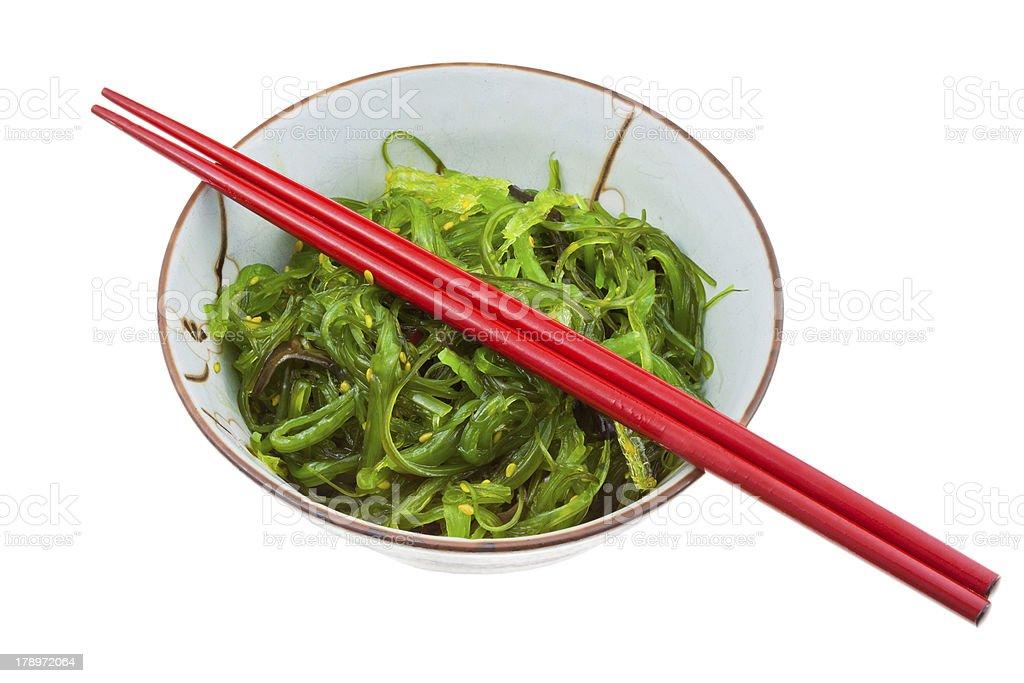 seaweed salad in ceramic bowl royalty-free stock photo