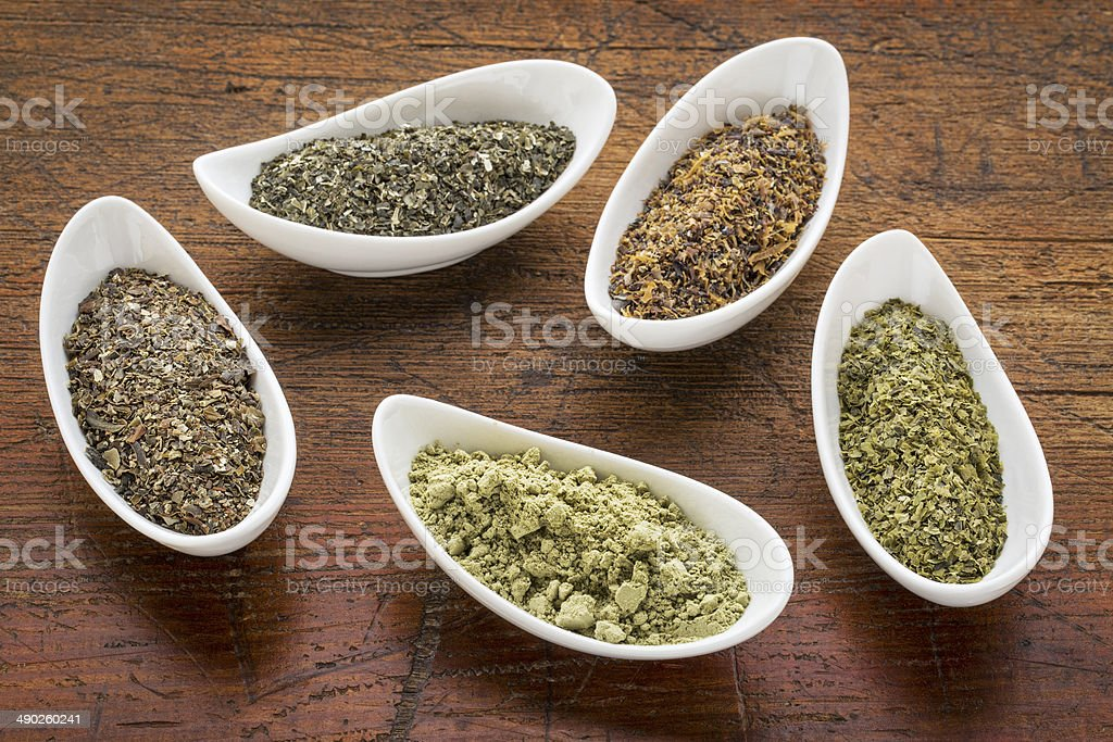 seaweeds - diet supplements stock photo