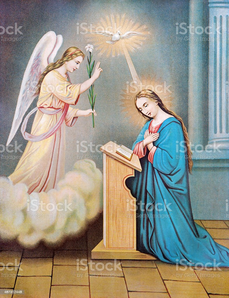 Sebechleby - Typical catholic image of The Annunciation stock photo