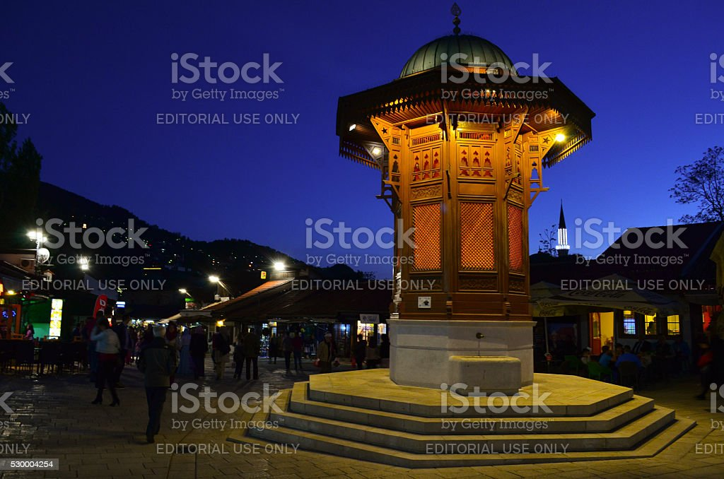 Sebilj fountain, Sarajevo landmark, by night stock photo