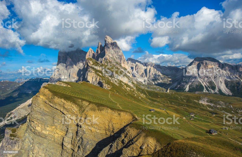 Seceda peak, Odle mountain range, Gardena Valley, Dolomites, Italy stock photo