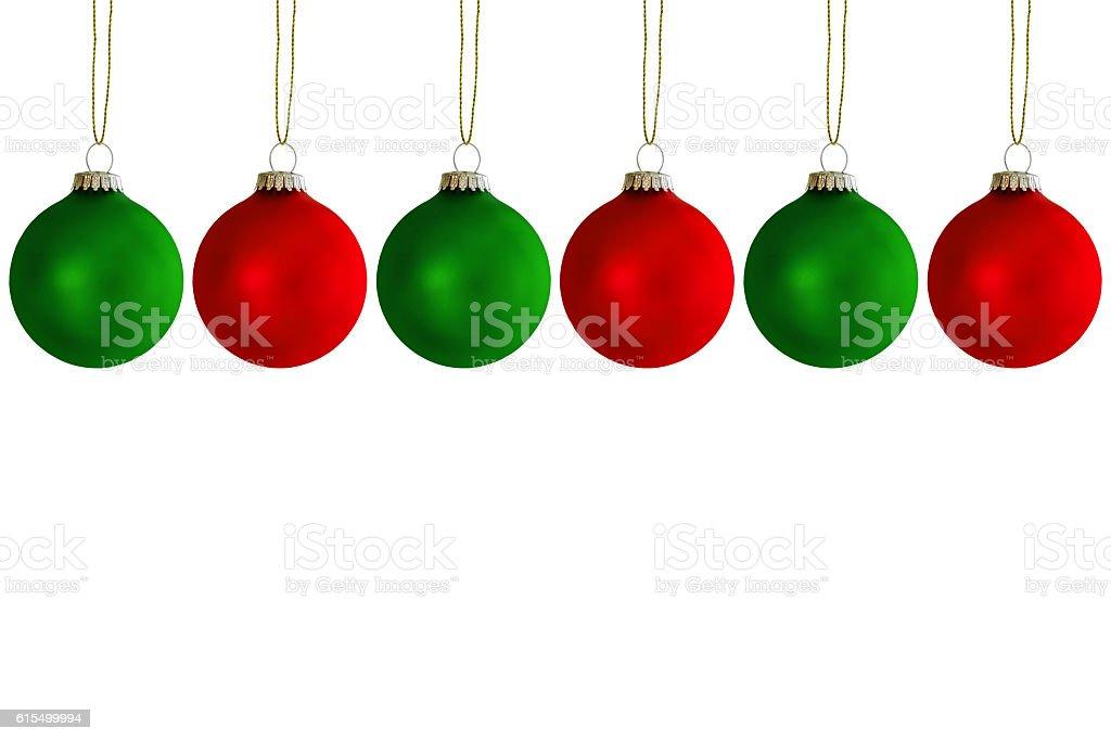 Sechs hängende Weihnachtskugeln stock photo