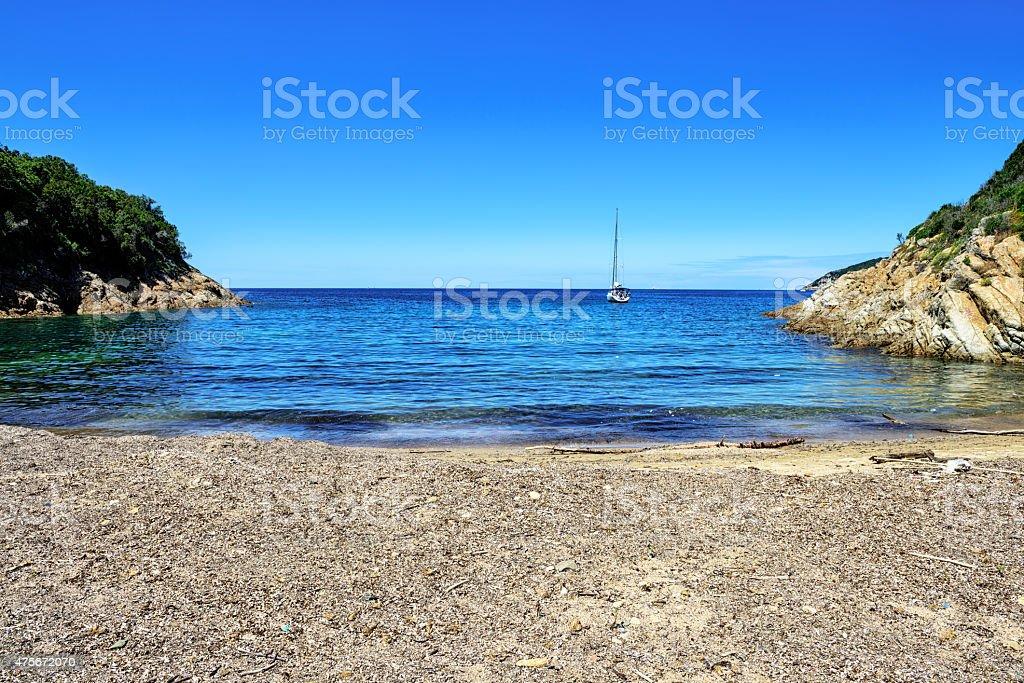 Secluded bay and  Tyrrhenian Sea near  Portoferraio, Island of E stock photo