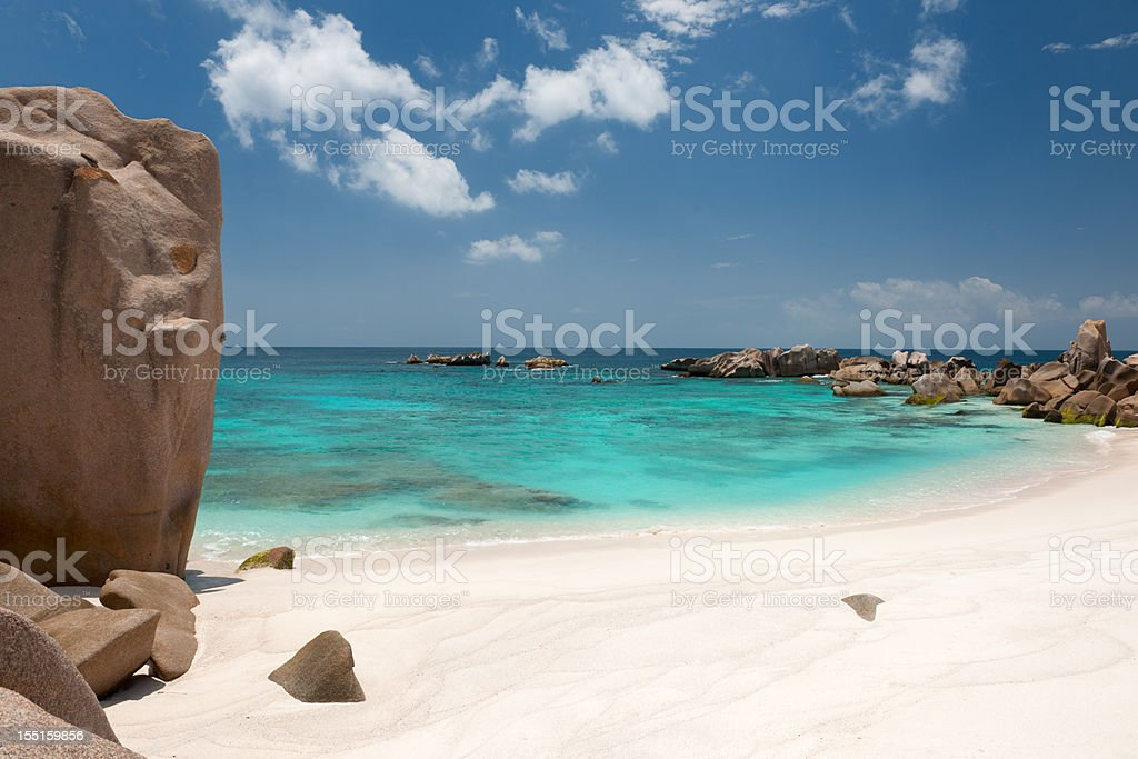 Secluded Bay, Anse Marron, Seychelles (XXXL) royalty-free stock photo