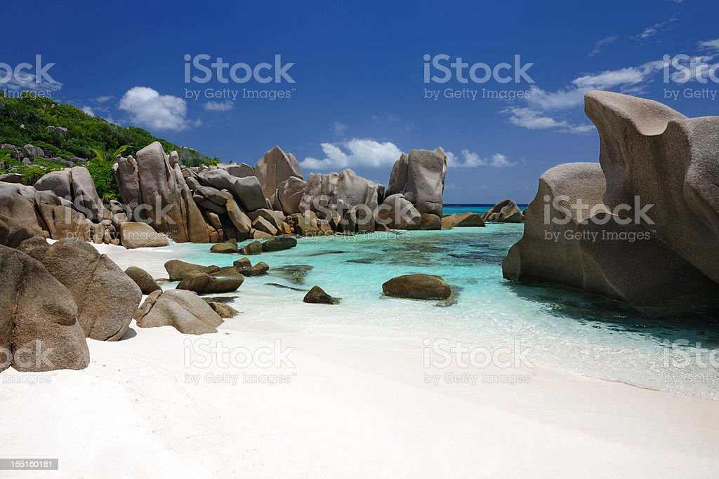 Secluded Bay, Anse Marron, Seychelles stock photo