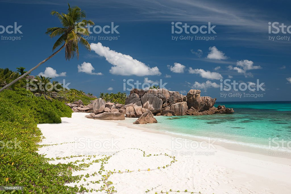 Secluded Beach in Paradise - Flower Heart royalty-free stock photo
