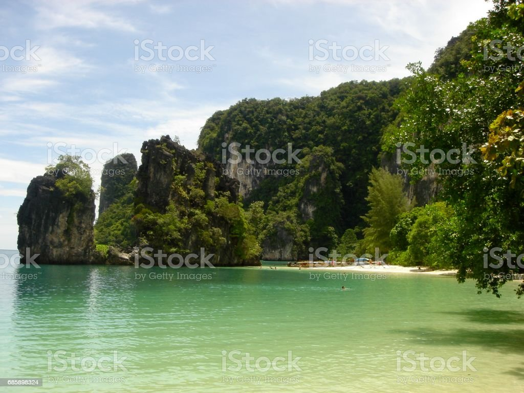 Secluded beach in Thailand stock photo