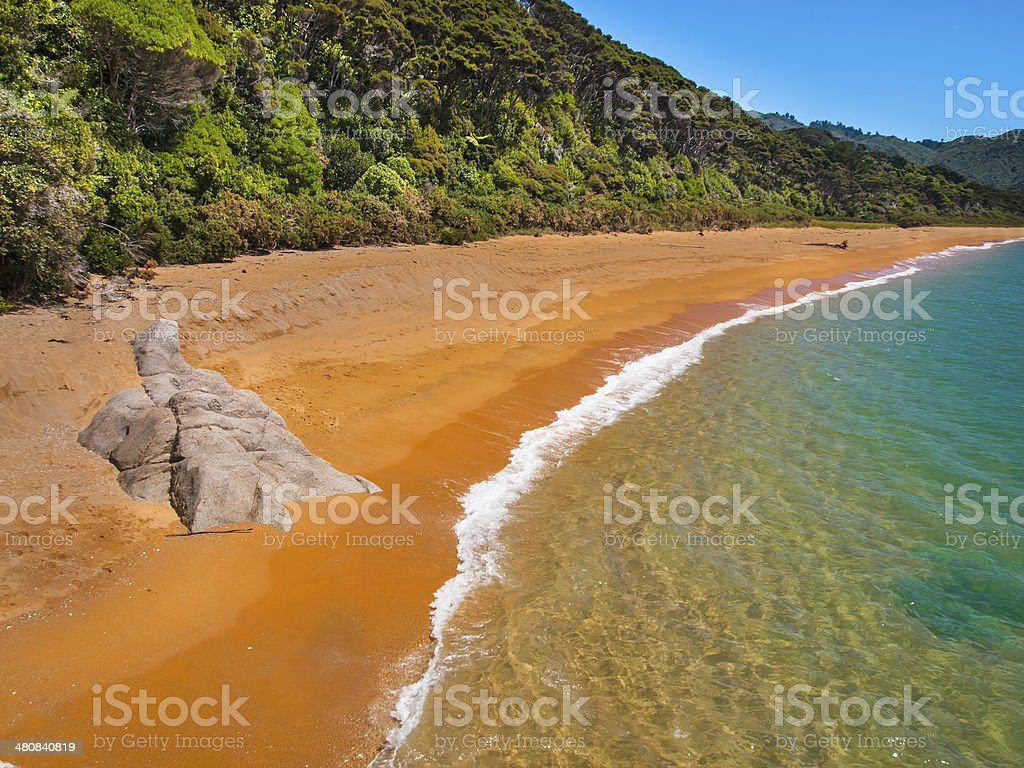 Secluded Beach New Zealand stock photo