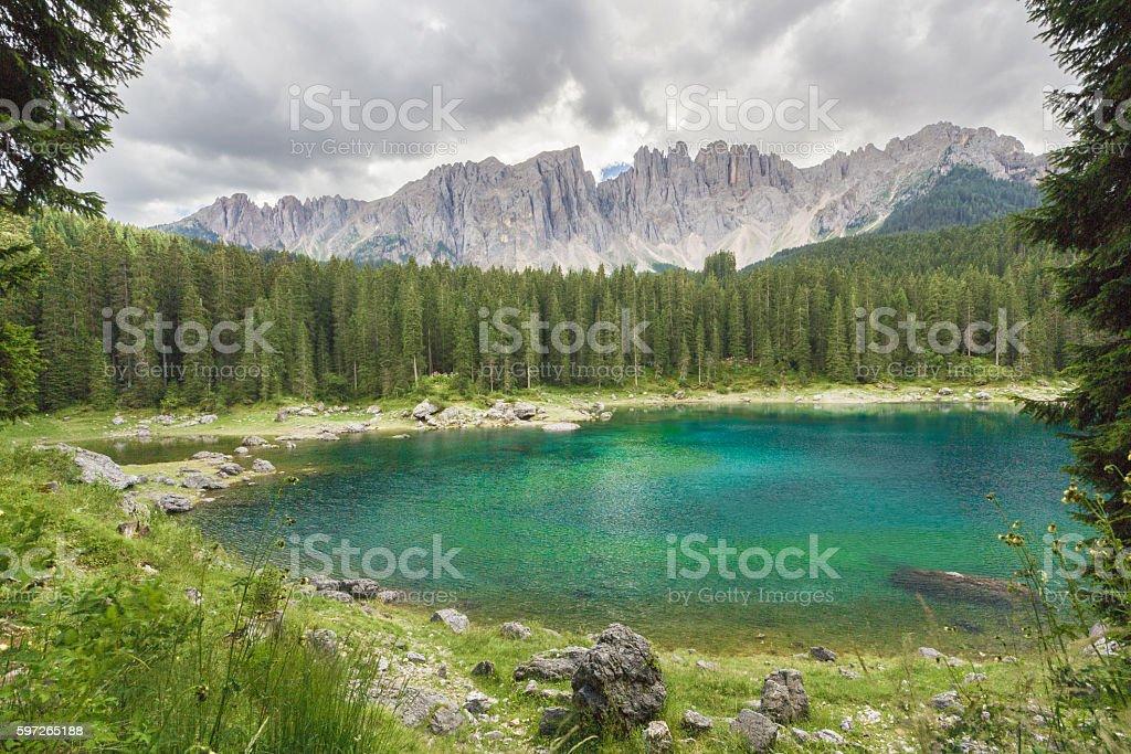 Secluded lake (Carezza, Italy) stock photo