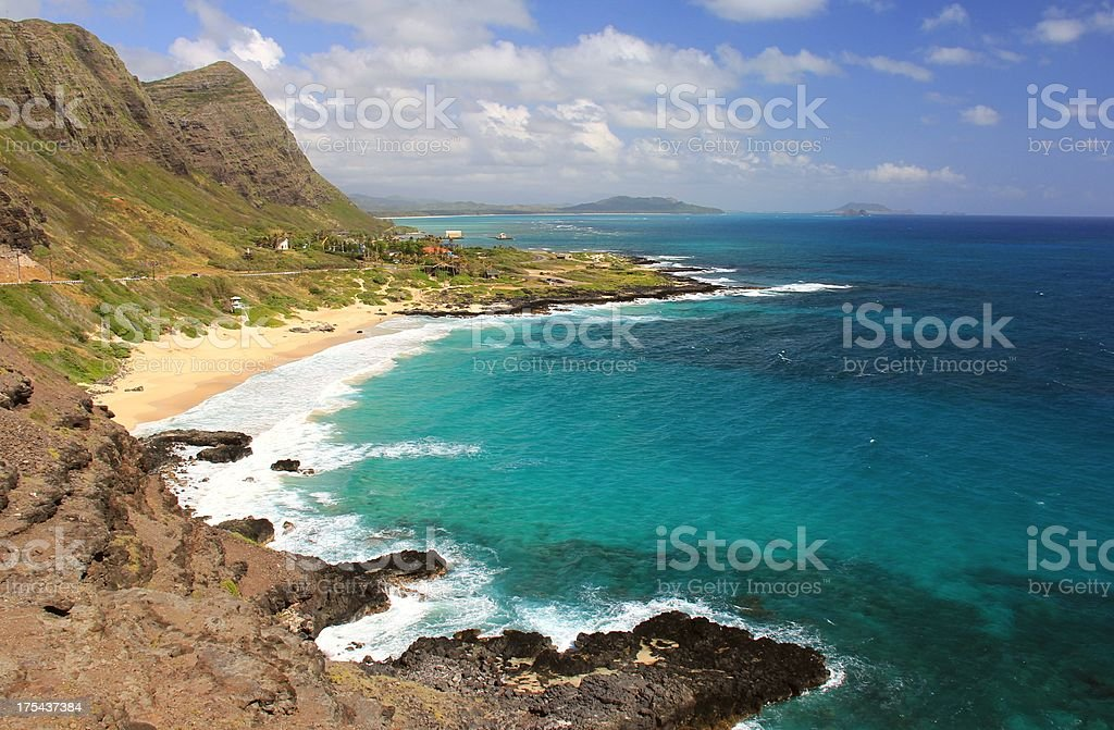 Secluded Oahu Hawaii Pacific ocean beach scenic stock photo