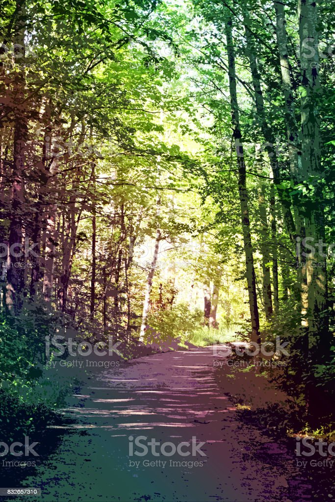 Secluded path on nature trail in abstract stock photo