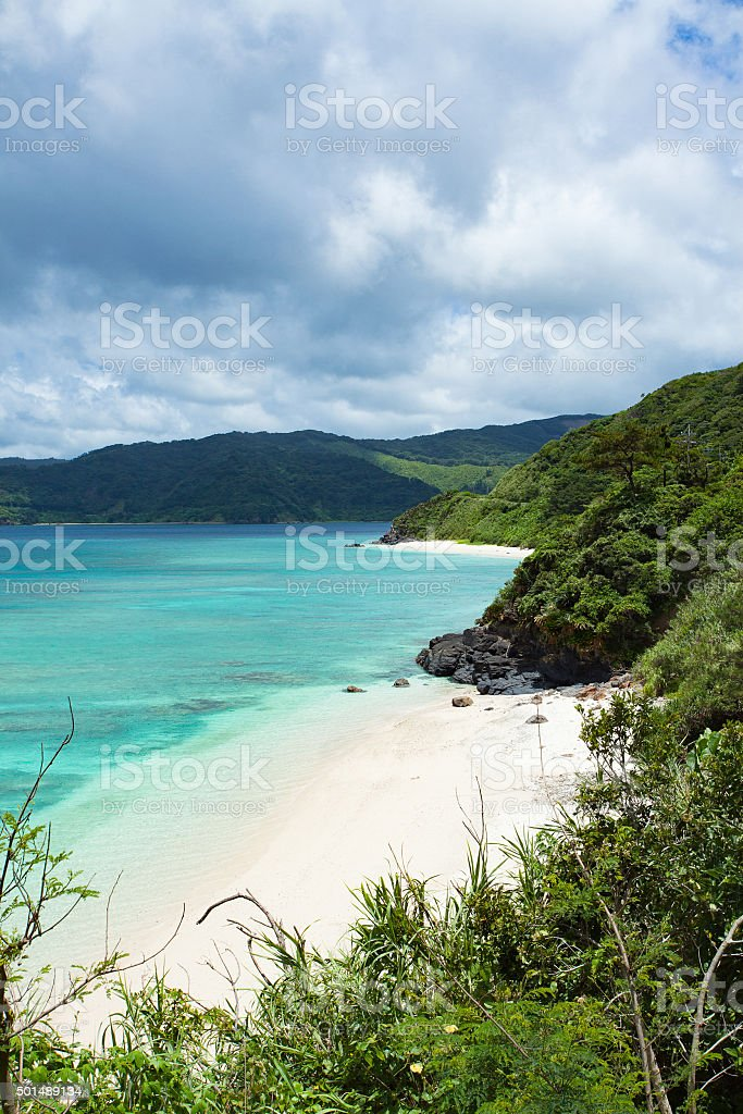 Secluded tropical beach coastline of southern Japan, Amami Oshima stock photo