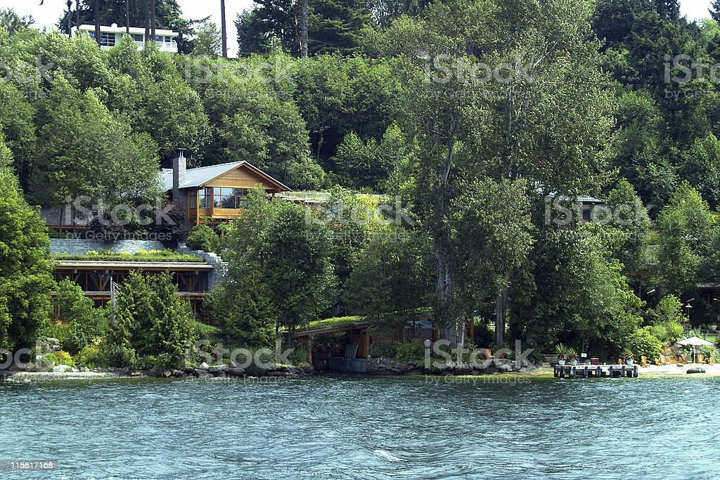 Secluded Waterfront Mansion royalty-free stock photo