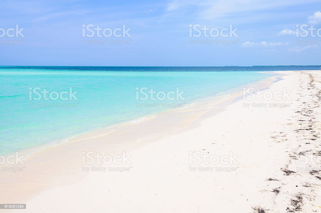 Secluded white sand beach in Cayo Levisa Island in Cuba stock photo