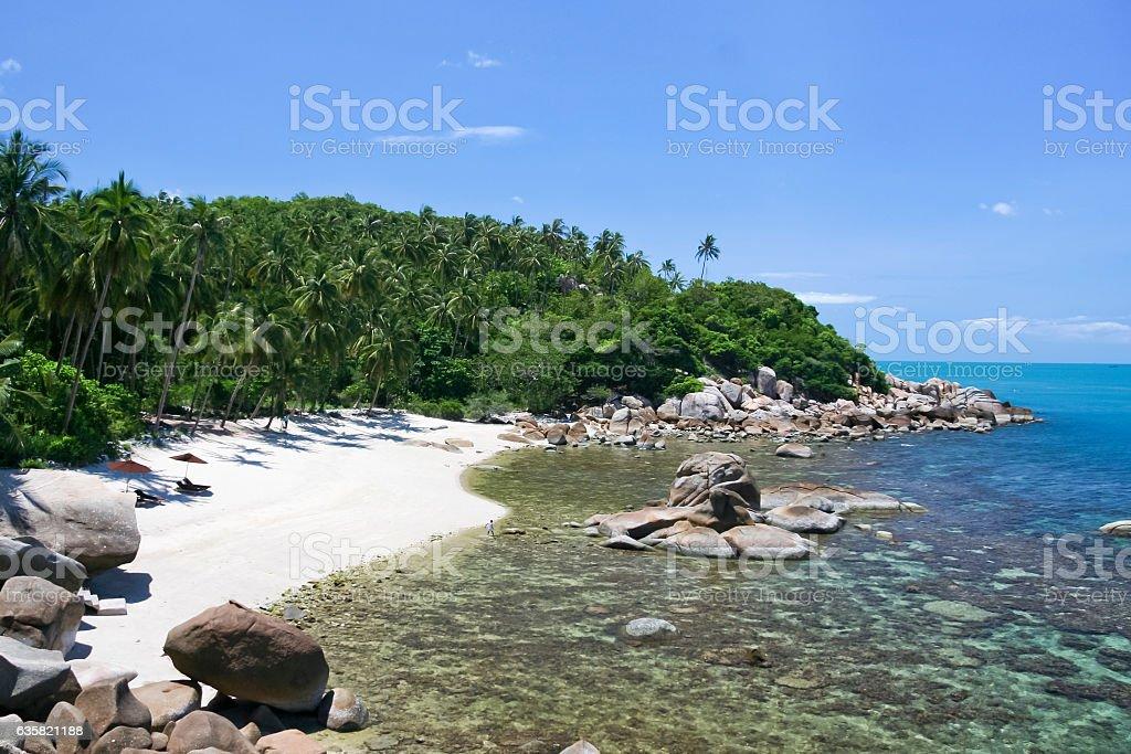 secluded white sand beach in lamai ko samui thailand stock photo