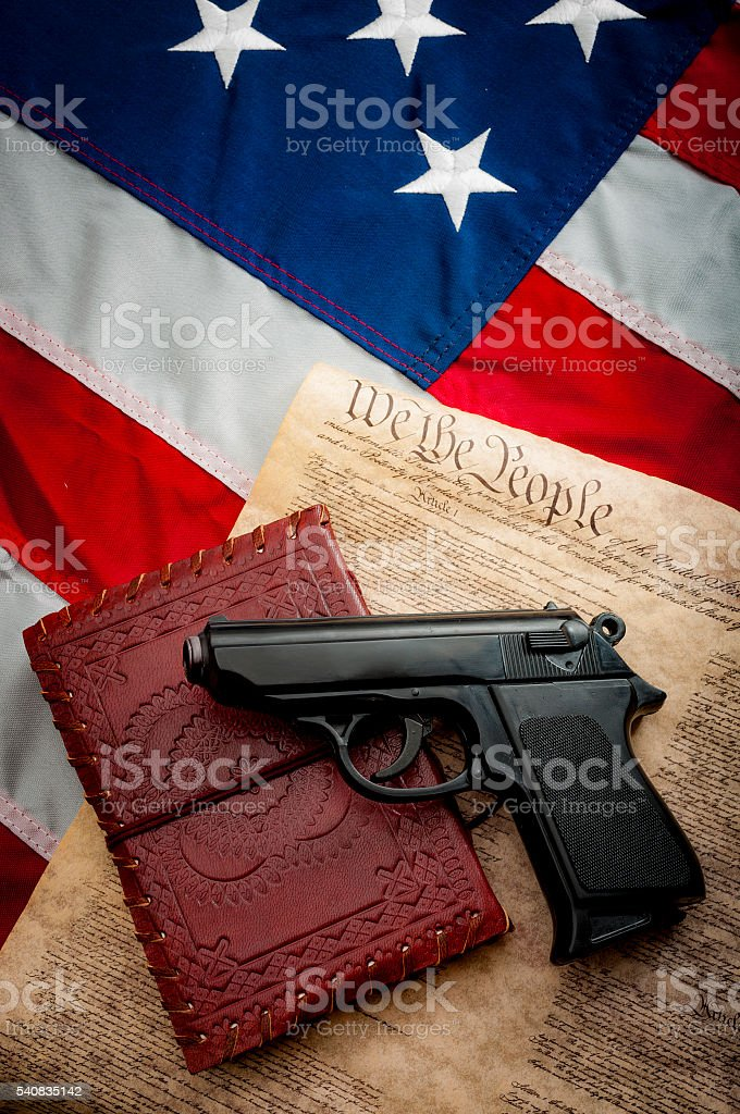 Second amendment and the bible stock photo