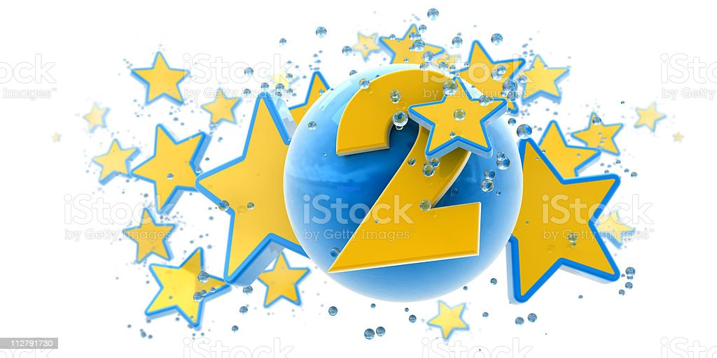 Second anniversary blue and yellow royalty-free stock photo
