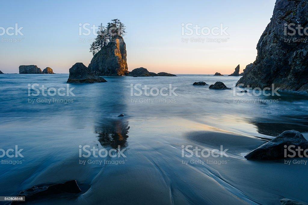 Second Beach at Sunset stock photo