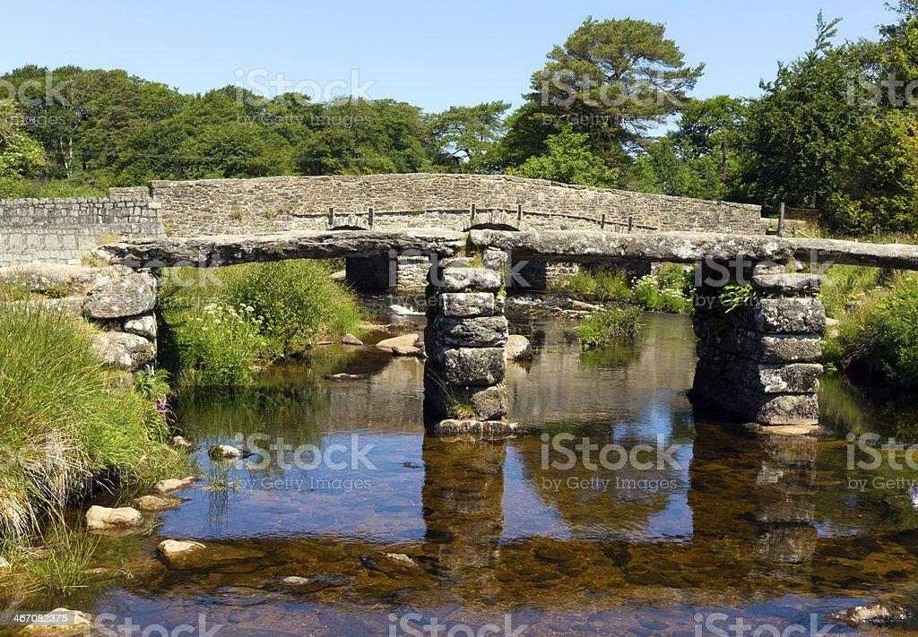 Second bridge at Postbridge Dartmoor National Park Devon England UK royalty-free stock photo