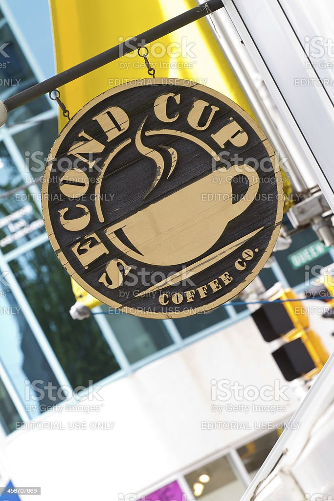 Second Cup Coffee Company Sign Hanging royalty-free stock photo