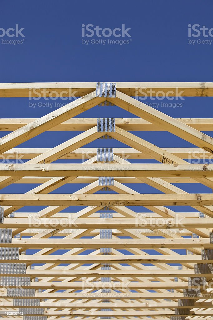 Second Floor Truss Frame on a Residential Construction Project royalty-free stock photo