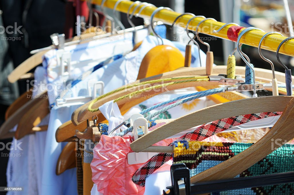 second hand clothings stock photo