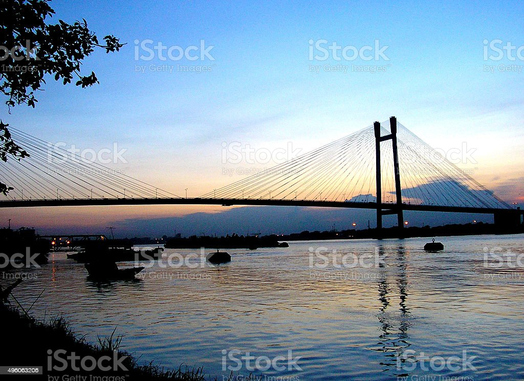 Second Hoogly Bridge from Outram Ghat stock photo