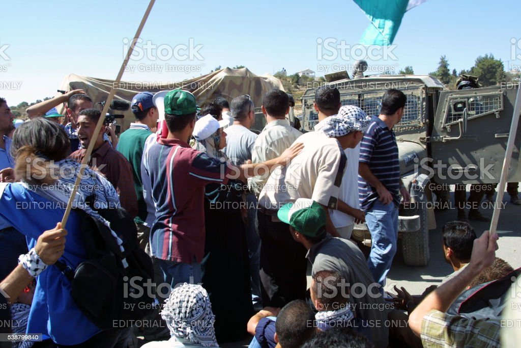 Second Intifada First Anniversary, Ramallah, October, 2001 stock photo