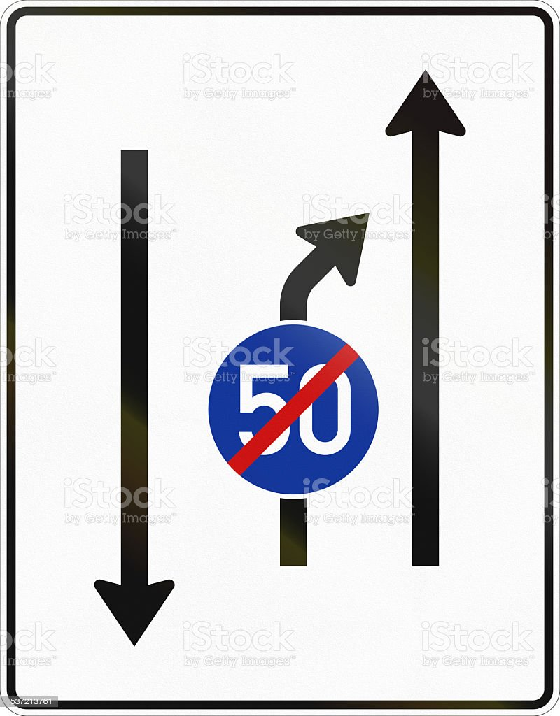 Second Lane Ends - Oncoming Traffic stock photo