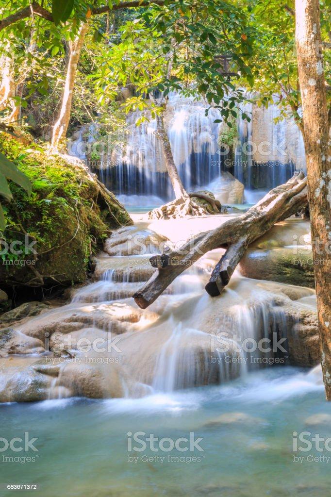 second level of Erawan Waterfall stock photo