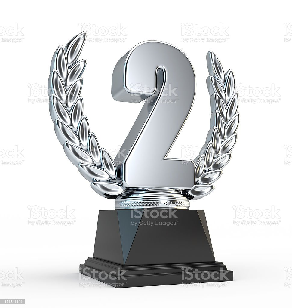 Second place award cup royalty-free stock photo