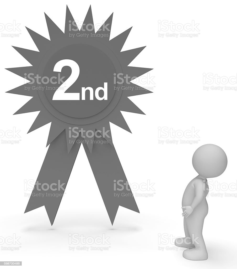 Second Place Rosette Represents Runner Up And Achievement 3d Ren stock photo