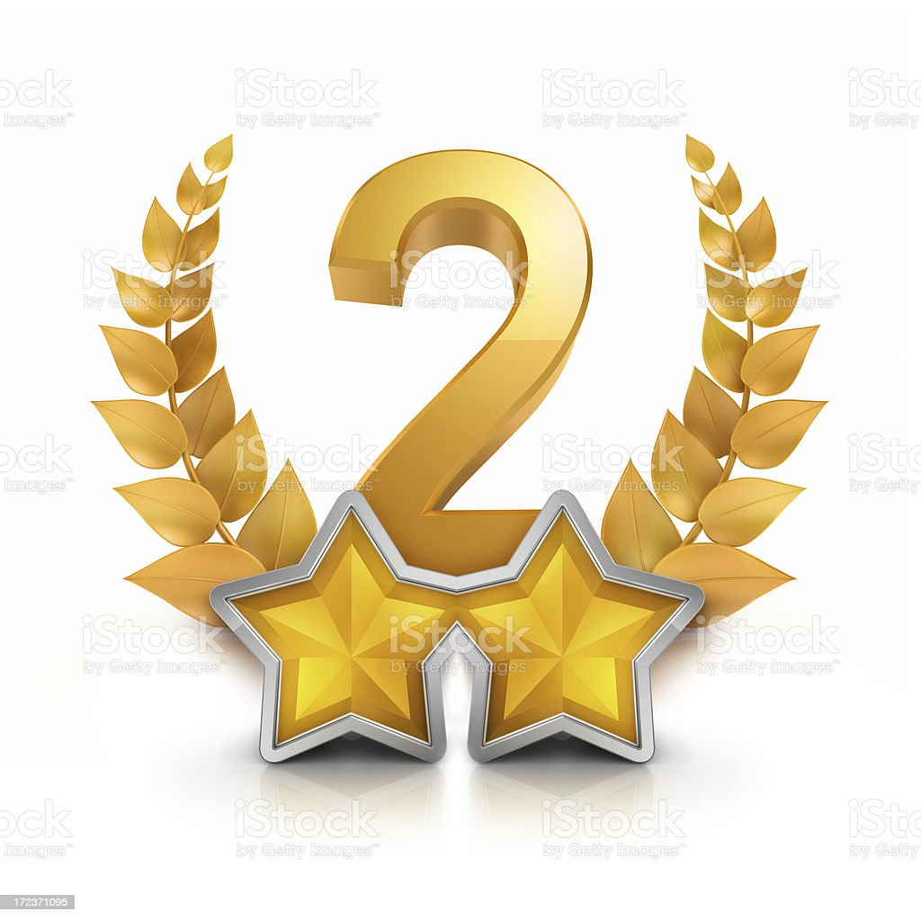 Second place two star badge reward stock photo