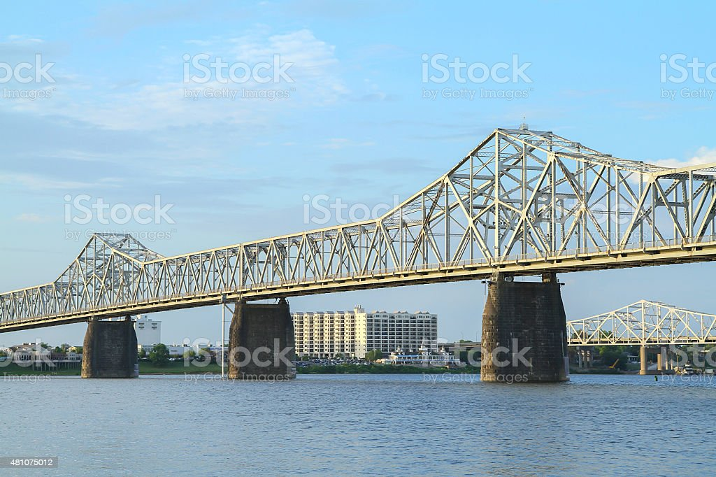 Second Street Bridge spanning between Indiana and Kentucky stock photo