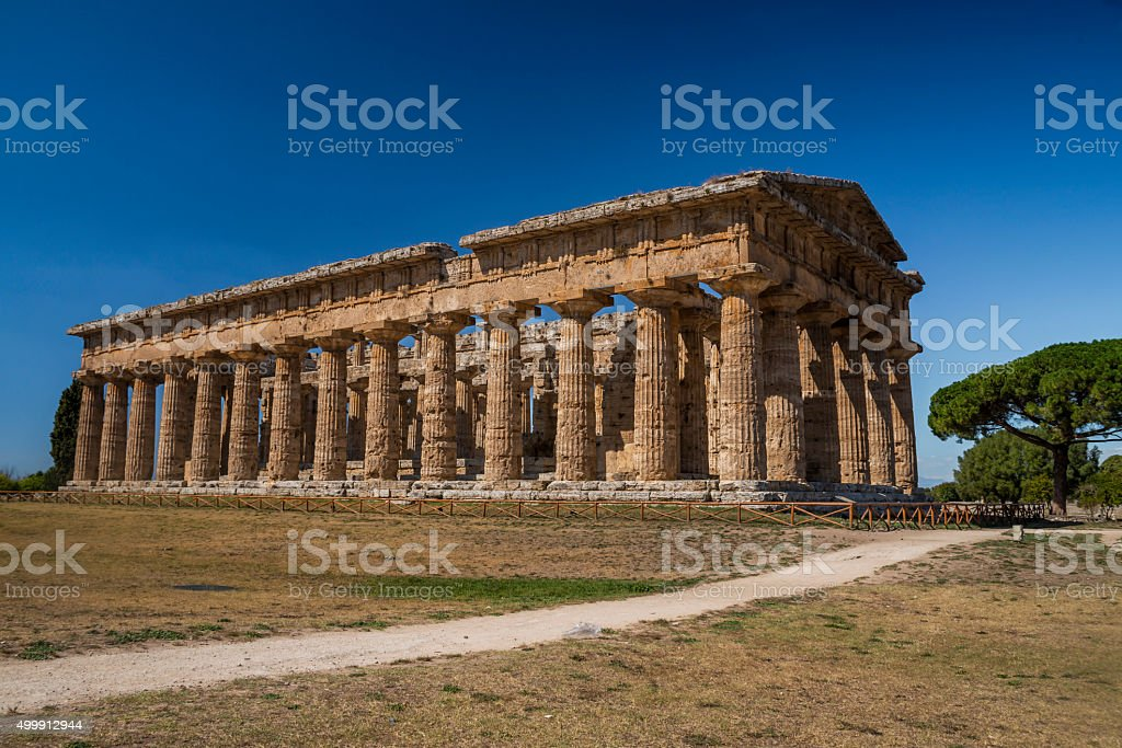 Second Temple of Hera, Paestum. Italy stock photo