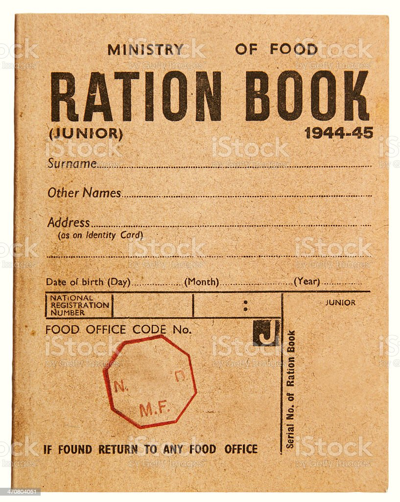 Second World War Ration Book stock photo
