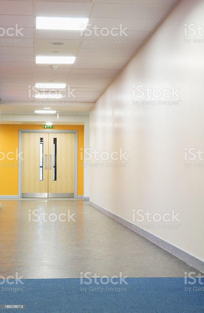 Secondary school corridor stock photo