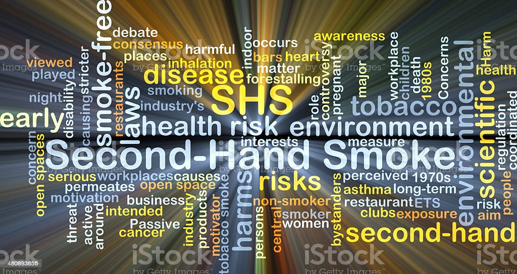 Second-hand smoke SHS background concept glowing vector art illustration