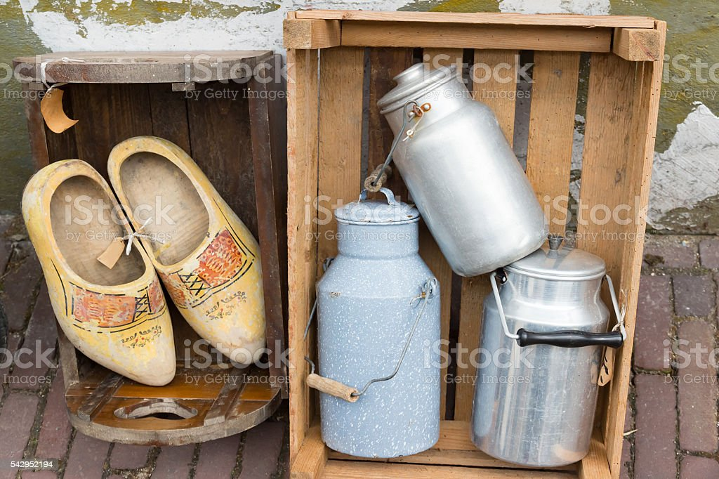 Second-hand Wooden Shoes stock photo