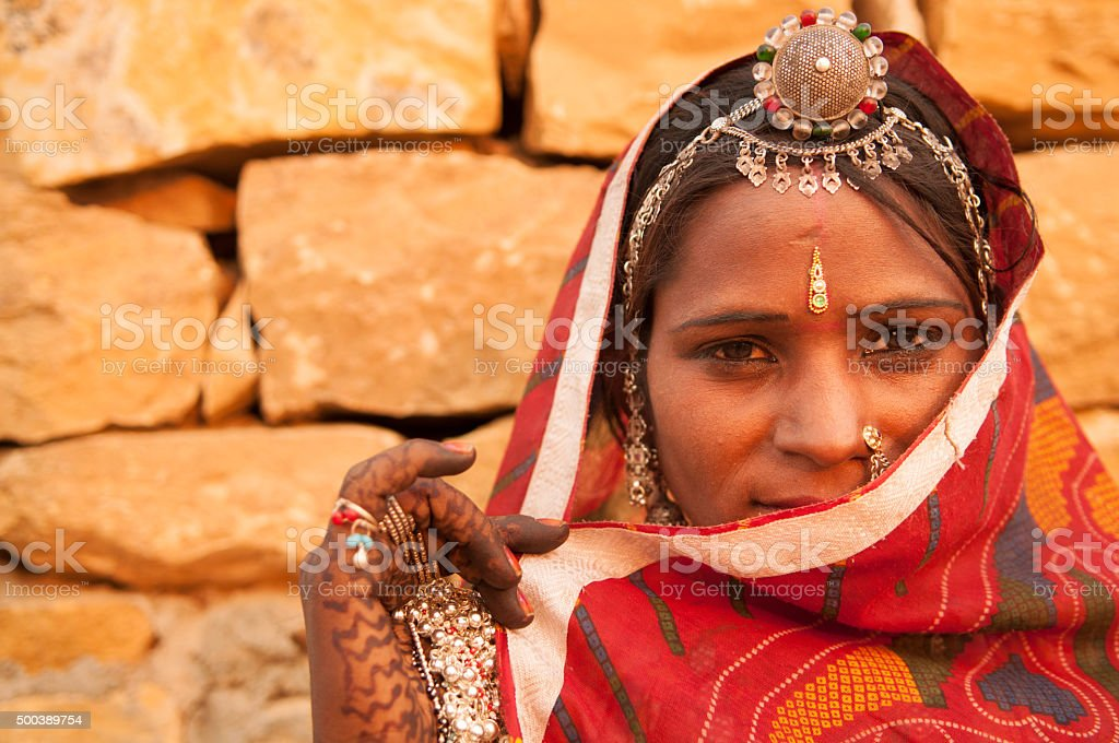 Secrecy traditional Indian girl stock photo