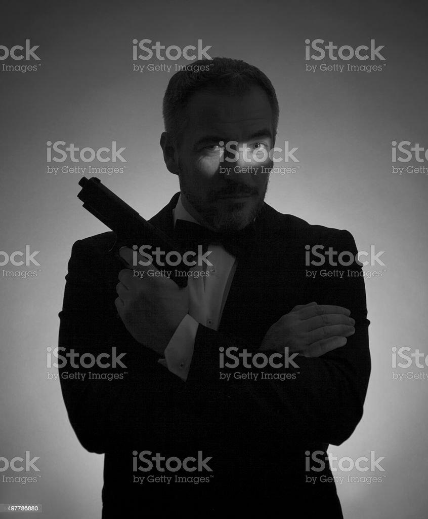 Secret Agent man stock photo