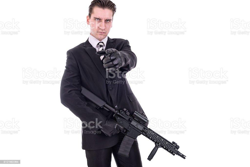 Secret agent or terrorist stock photo