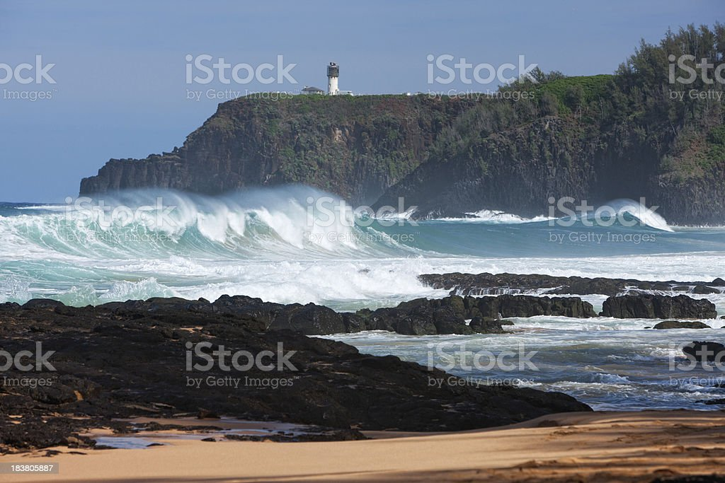 Secret beach and Kilauea lighthouse island of Kauai. stock photo