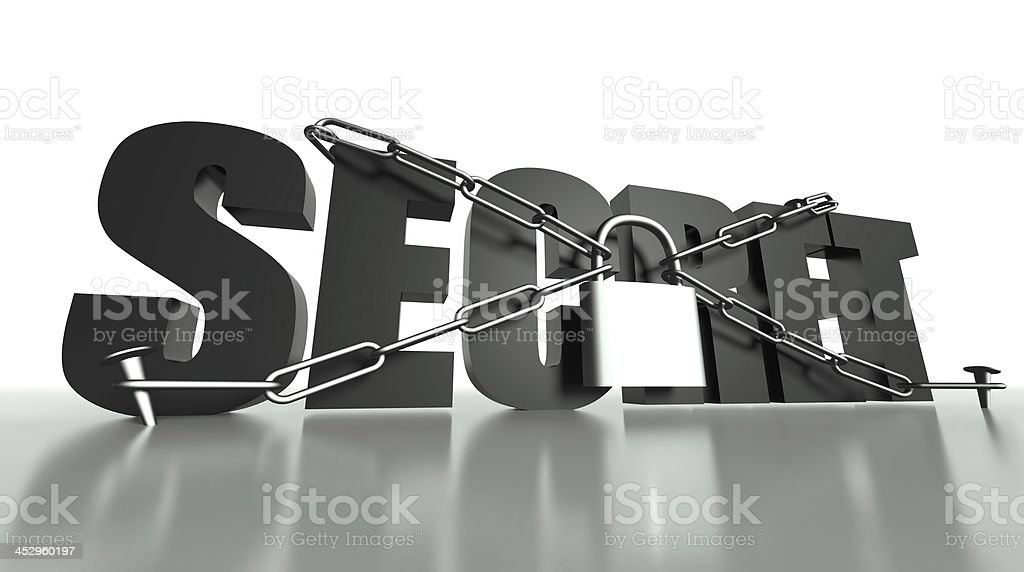 Secret concept, safety padlock and chain royalty-free stock photo