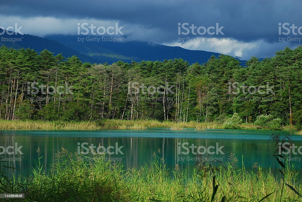 Secret Lake In A Cloudy Autumn Day stock photo