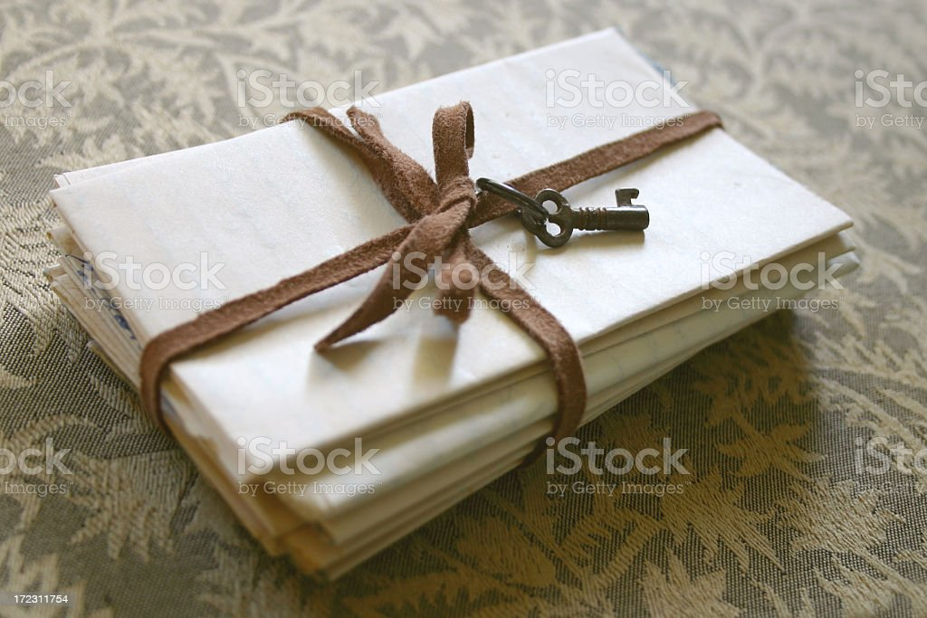 secret letters with key tied up royalty-free stock photo